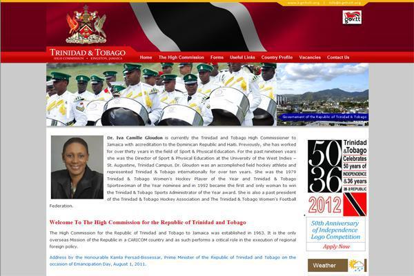 Portfolio Item - Website design for the High Commission of Trinidad & Tobago in Jamaica by Interlinc Communications