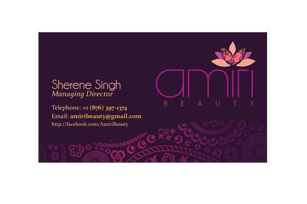Business Cards designed and printed for Amiri Beauty