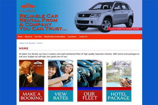 Web design for Salem Car Rentals, Ocho Rios Jamaica