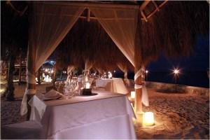 Dinner on the beach at El Dorado Resorts