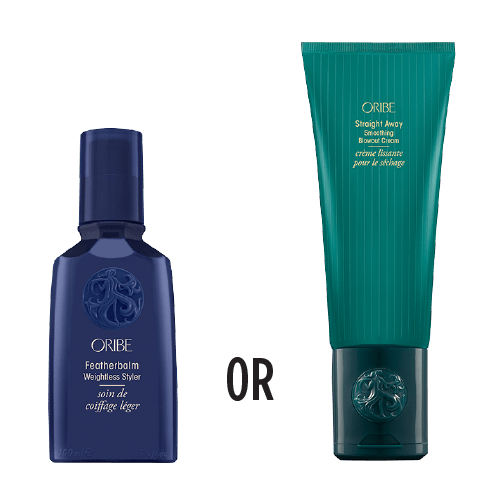 Oribe products Featherbalm and Straightaway