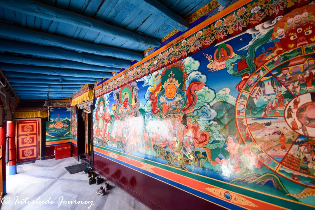 Paintings on the walls of Drukhand Inside Stakna Monastery