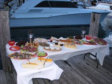 Table spread on the docks during Intermarine Grand Escapade to the Abacos.