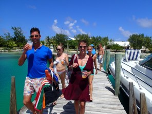 Smiling group on the docks in Little Harbour, Abacos, Bahamas.