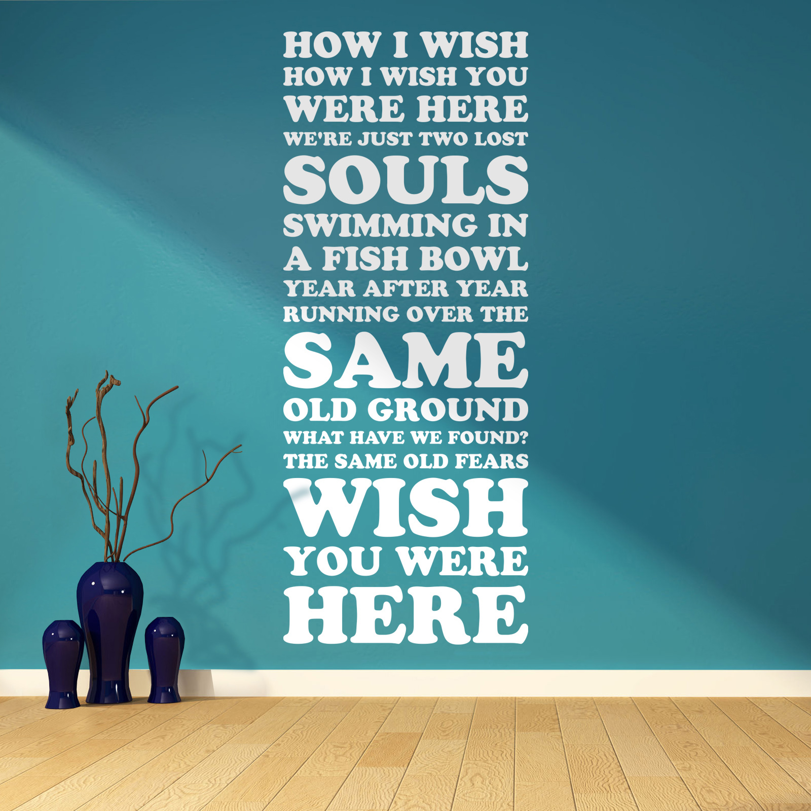 Pink Floyd Wish You Were Here Song Lyrics Two Lost Souls Vinyl Wall Art Sticker EBay