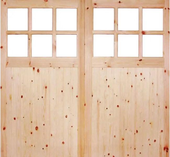 Redwood Single Glazed Garage Door Pair