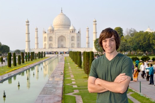 "Patrick at the Taj Mahal in Agra, India during the UMW in India ""Business Communications"" spring break program."