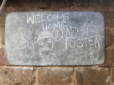 """The """"Welcome Home"""" sign Brian drew for Brad."""