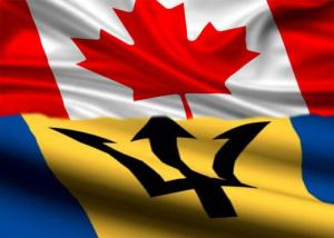 Image: Merged Barbados Canada Flags