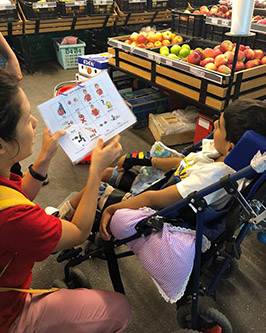 The author works with a child in a wheelchair in Malaysia.