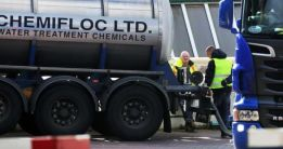 Workers deliver water treatment chemicals to the Ballymore Eustace Water Treatment Plant in Co Wicklow yesterday which is experiencing production difficulties. Photograph: Collins