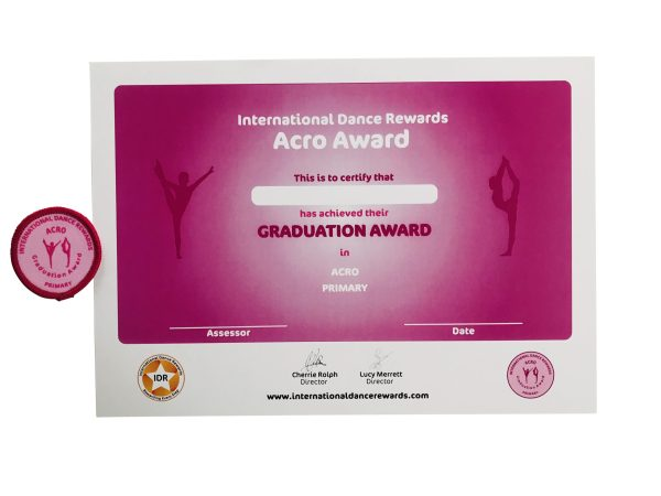 International Dance Rewards, dance rewards, dance school award, dance school rewards, dance school, dance school award, dance accreditation, dance accreditations, dance reward system, dance badge, dance certificate, dance badge and certificate, children's dance school, Acro award pink Graduation