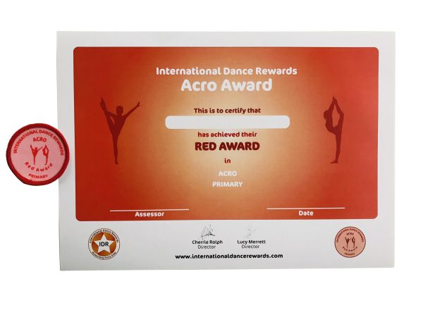 International Dance Rewards, dance rewards, dance school award, dance school rewards, dance school, dance school award, dance accreditation, dance accreditations, dance reward system, dance badge, dance certificate, dance badge and certificate, children's dance school, Acro award red