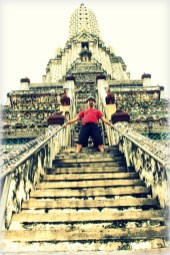 Climbing Wat Arun, temple of the dawn in Bangkok