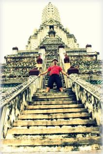 Climbing Wat Arun, temple of the dawn in Bangkok