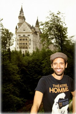 In front of Neuschwanstein Castle near Füssen in southwest Bavaria, Germany. The palac was the inspiration for Disneyland's Sleeping Beauty Castle