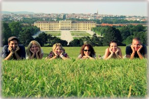 Oh holiday with the family visiting the Schönbrunn Palace in Vienna, Austria
