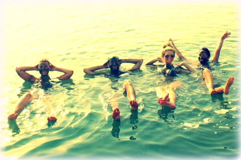 Floating with some fly girls in the Dead Sea