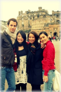 With my crew in front of Edinburgh Castle