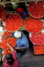 Tomato sales at the Port Louis Bazaar
