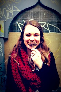 Sinead trying on her stache