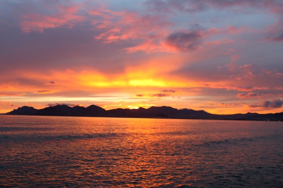 A magical sunset on the beach in Cannes