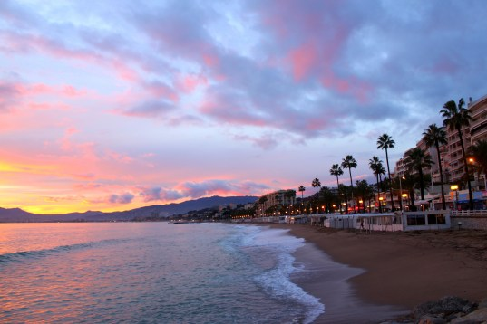 Sunset on the beach in Cannes