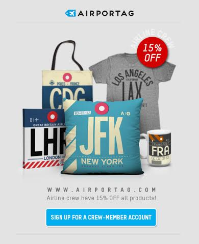 Click this image, sign up and airline crew can get 15% off all the awesome products at airportag.com