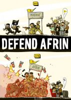 Posters and banners in solidarity with the Afrin resistance