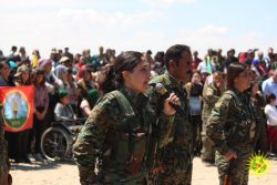 Commemoration in Qerecox marking one year since Turkey bombed the YPG press centre
