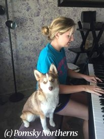 A woman plays piano with a small dog sitting on the bench next to her.
