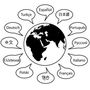 Zeichnung verschiedene Weltsprachen
