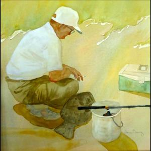 artist Susan Mauney, Flounder Fisherman, watercolor