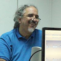 "Mike Hagimichael ""Hagi Mike"" in his classroom at the University of Nicosia."