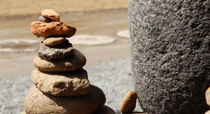 Rocks stacked at Biamsa Temple. Monks do this to make wishes.
