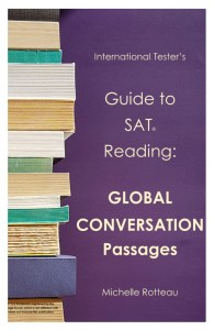 Stack of books on left hand side on a purple background with title Guide to SAT Reading: Global Conversation Passages