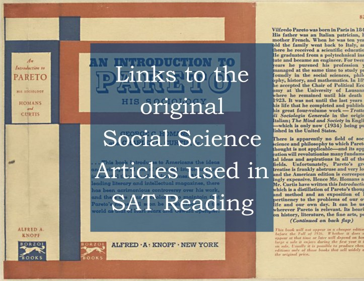 Links to Social Science Articles used on SAT Reading tests