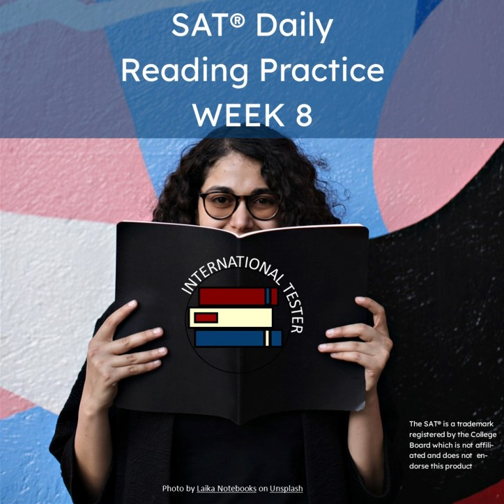 Cover for SAT reading practice package of 5 articles with vocabulary and reading comprehension questions