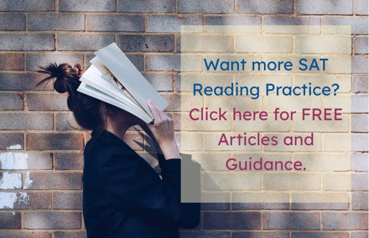 Girl with book in front of her face as she tries to make sense of SAT big picture questions. Links to list of practice articles.