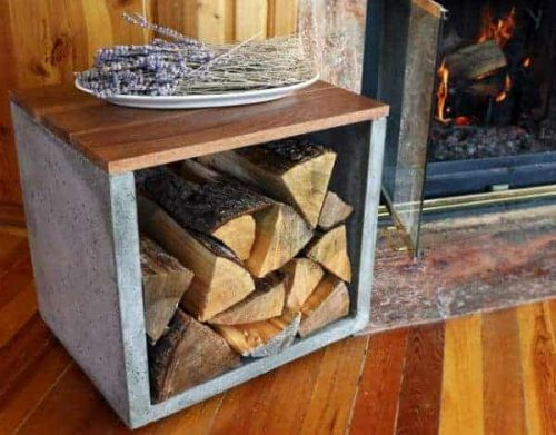 Concrete firewood holder