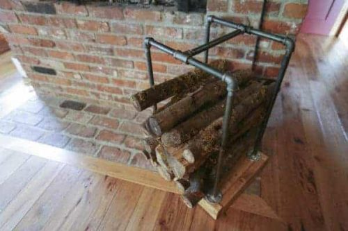 Gas pipe firewood holder
