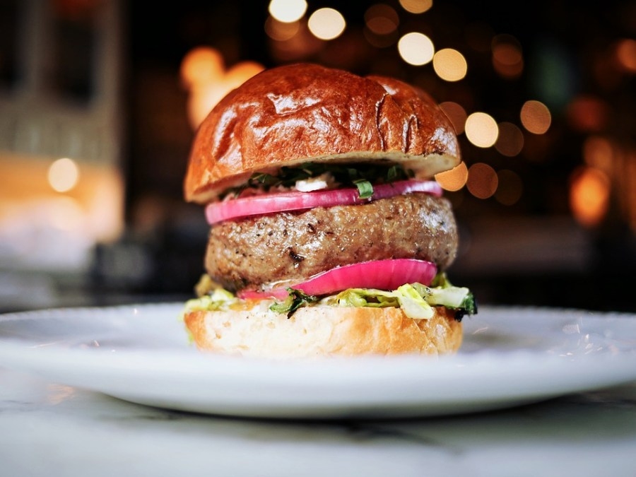 Healthy burger with fresh vegetable, red onion, wholemeal buns in a white plate