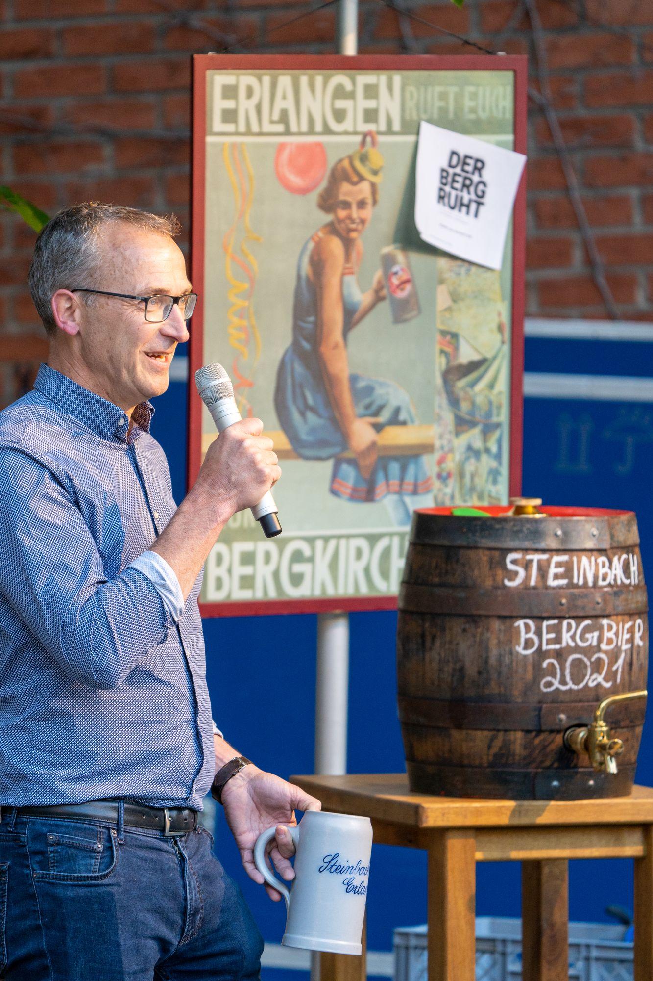 Christoph Gewalt mit Steinbach Bergbier 2021 Erlangen