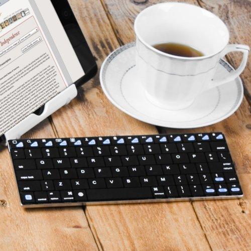 GMYLE(TM) Bluetoothアルミニウム 無線ワイヤレス薄型ミニキーボード8.5インチ [ブラック] (ショートカットキーがiPad Mini, Macbook Retinaディスプレイ,iPhone 4S/5/5C/5S対応します、IOS 7.0対応する)