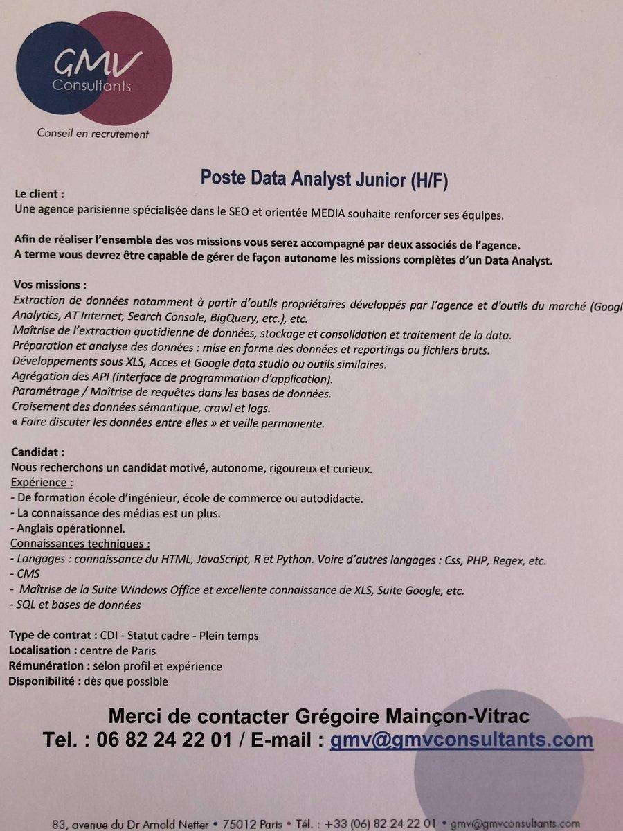 Vous êtes un(e) data analyst (H/F) en devenir… Une agence parisienne spécialisée...