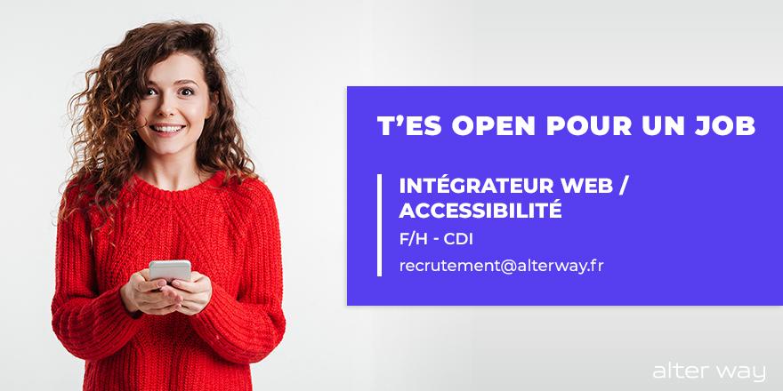 #alterwayrecrute un intégrateur #web / #accessibilité – (F/H) en #CDI  à #saintc...