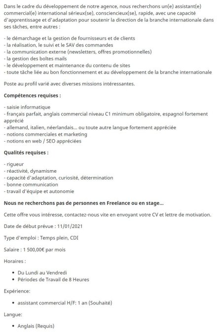 Cherche assistant commercial international H/F pour l'agence  Poste à pourvoir d...