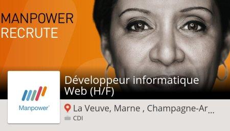 #ManpowerFrance recrute ! Développeur #informatique #Web (H/F) #LaVeuveMarneCham...
