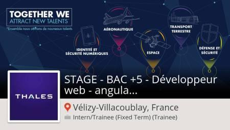 Postulez dès maintenant pour Thales France en tant que STAGE - BAC +5 - Développ...