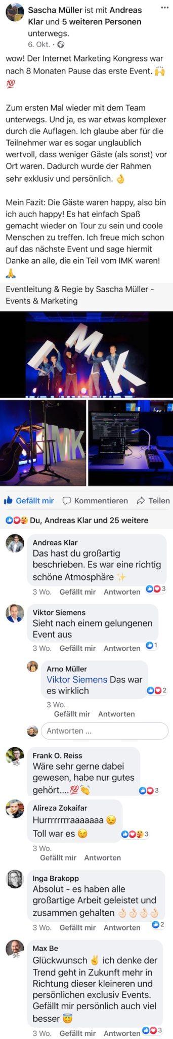 Feedback von Sascha Müller auf dem Internet Marketing Kongress 2020 von Heiko Häusler